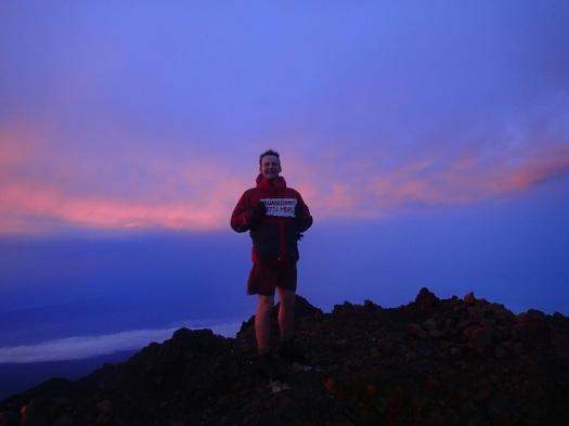 Buckaroo Rob on top of Gunung Rinjani (3726 meters, northern Lombok) at sunrise. (Robert Webber/Indonesiaful)