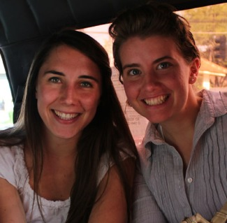 The two Co-Editors-in-Chief, Kelsey and Anna, riding an angkot together during their first year, as part of the 2012-2013 ETA cohort.  (Anna Devries/Indonesiaful)
