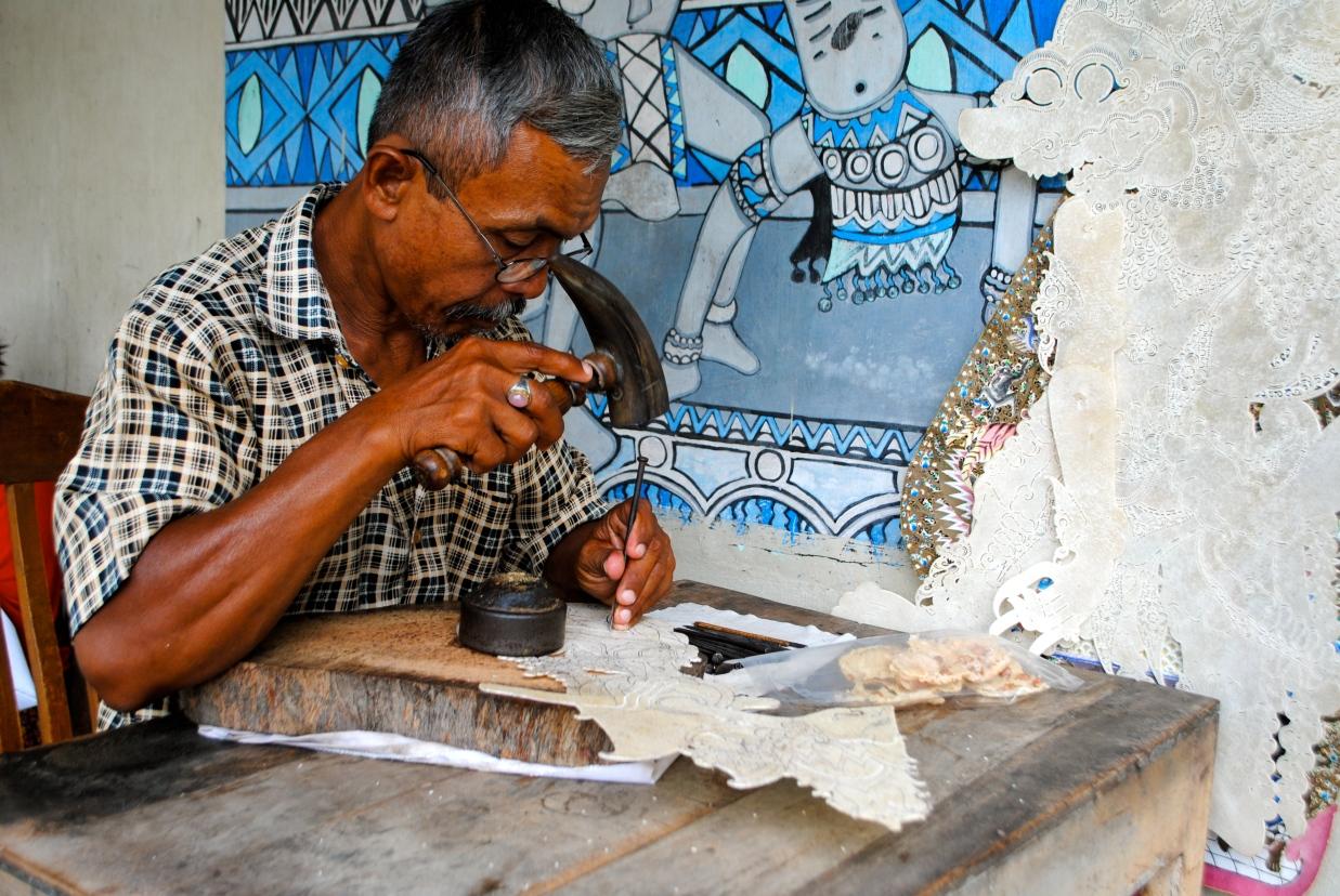 A man crafting a