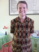 Josh Gehret, placed in Kupang, wearing an ikat from Sabu, an island in NTT.