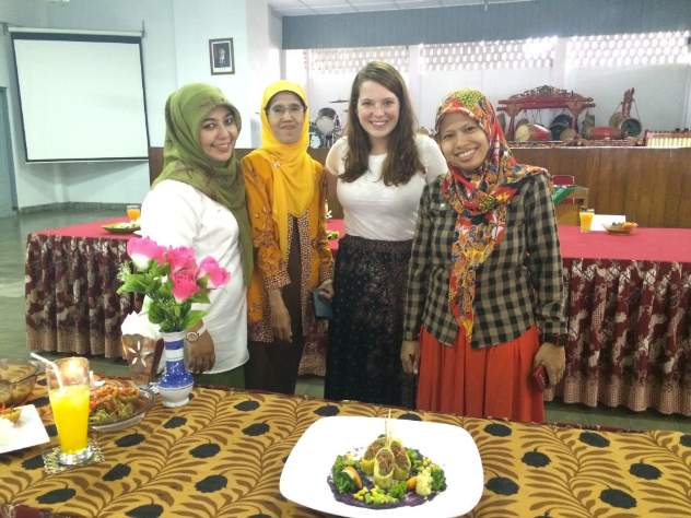Kendra Reiser poses with fellow teachers at SMK Negeri 6 Yogyakarta.