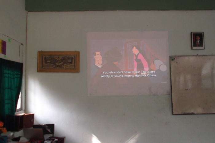 Students in MAN Wonosari's English club enjoy a screening of Mulan.