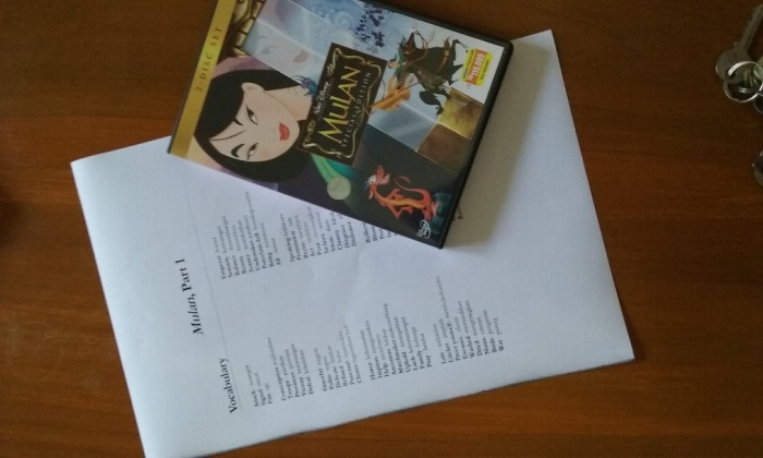 ETA Bryan Howard's viewing guide and vocabulary list for Mulan.