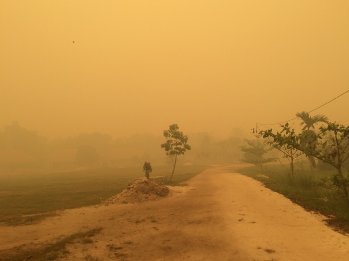 The hazey, yellow air from which there is no relief for permanent residents of Palangkaraya.
