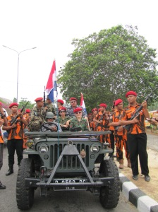 Yours truly, front and center, waiting in the wings of Drama Kolosal with my soldier-students and actual members of the Indonesian military.