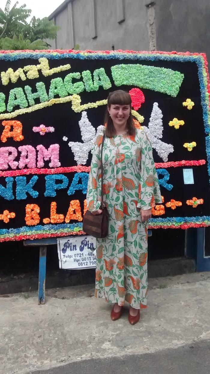 Rebecca Selin wearing batik purchased in Bandar Lampung to a local wedding.