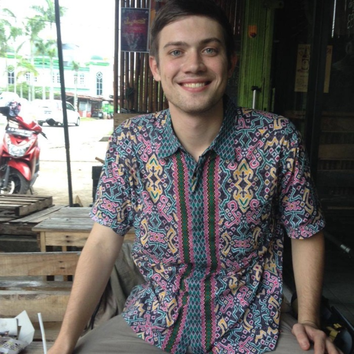 Sean Driscoll, an ETA placed at SMKN 5 in Pontianak, wearing his Dayak batik.