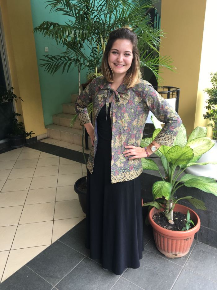 Kate Barton is wearing the teacher uniform that she helped choose for the English teacher department at her school, SMAN 4 Kendari, in Southeast Sulawesi. The teachers wear it every Friday as part of their school uniform.