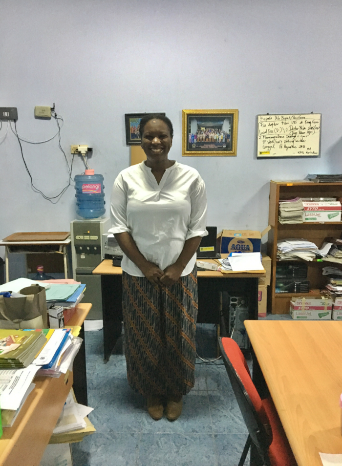Kayla Stewart is wearing a batik skirt from well-known Indonesian store, Batik Keris. Kayla bought the skirt early on in her first semester at SMKN Jawa Tengah before finding a local tailor in her Semarang neighborhood. The skirt is a staple in her weekly school teaching uniform.