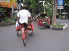 Becaks are three-wheeled, man-powered buggies used for getting across short distances. The driver pedals a bike behind and the passenger sits in a coered buggy in front.